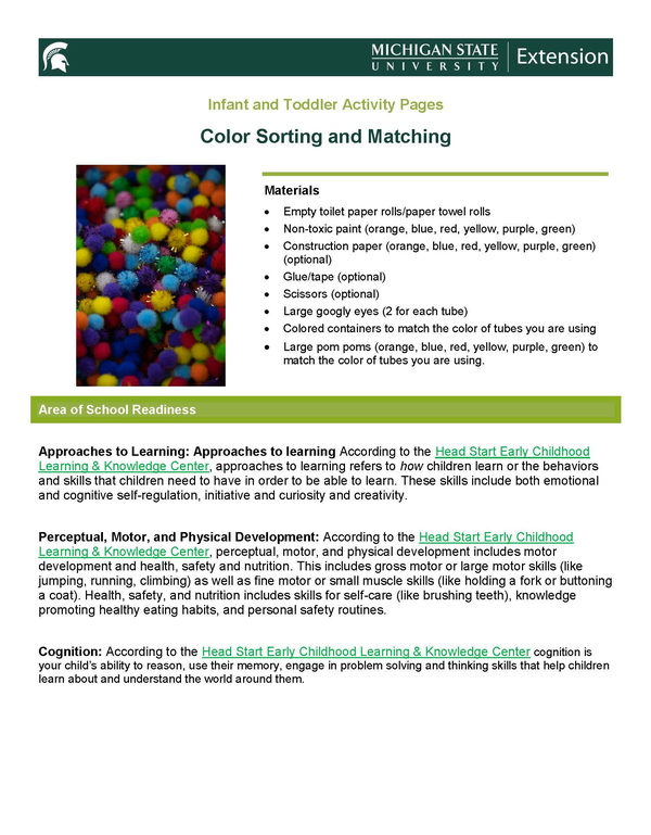 First page of the color sorting activity page.