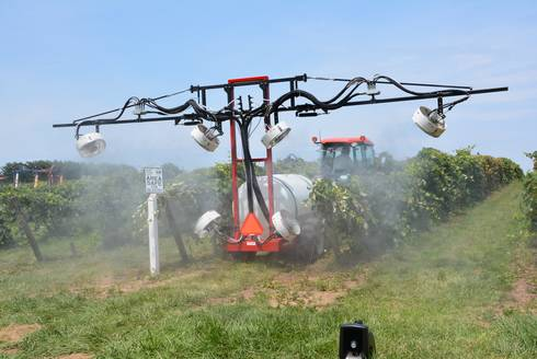 Vineyard sprayer demonstration.