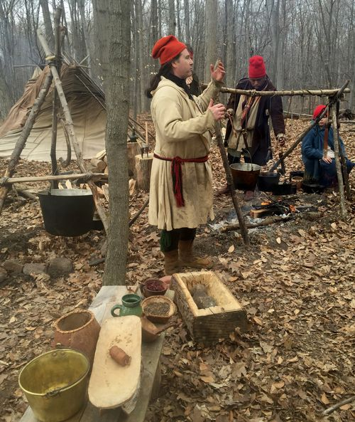 Sugaring camp reenactors at the Maple Tapping and Pancake Feast.