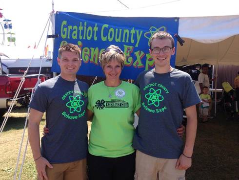 Matthew Newman (left), Patty Macha (center) and Austin Brittain (right) take a moment to celebrate a successful 2016 Gratiot County Science Expo. Photo: Matthew Newman.