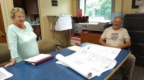 Township offices store current and past project planning and construction documents. Such documents are useful for current and future officials tasked with identifying solutions to sewer and drainage problems that arise. (Photo by Monica Day).