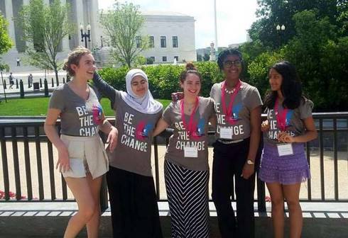 Ganna Omar (second from left) with other Girl Up members outside the U.S. Supreme Court during their day of lobbying. Photos: Ganna Omar.