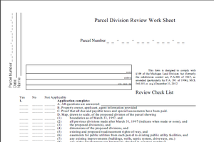 Sample Land Division Review Worksheet