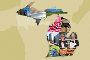 Graphic of Michigan with client photos inset