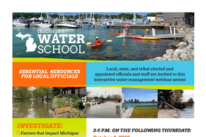 Decorative element - colorful flyer explaining Water School details, all information included in article text.