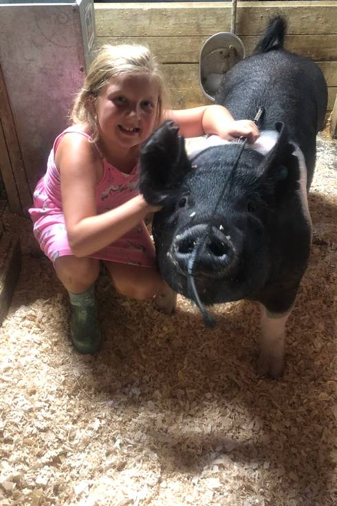 Child posing with a pig