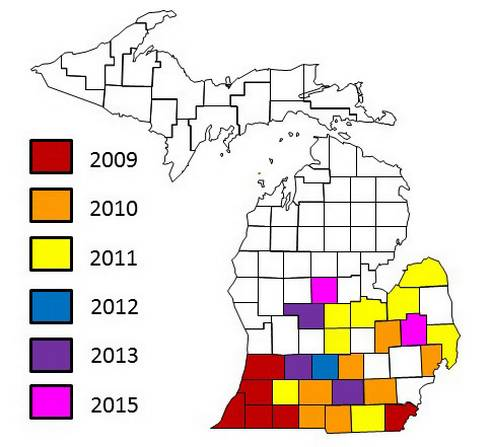 Soybean sudden death syndrome distribution in Michigan.