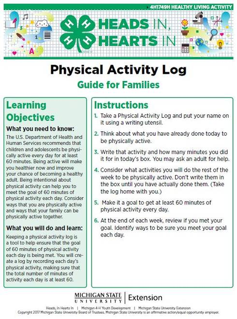 Physical Activity Log cover page.