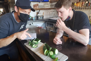 Chef Kris Stunkard and staff taste Seed to Kitchen cucumbers