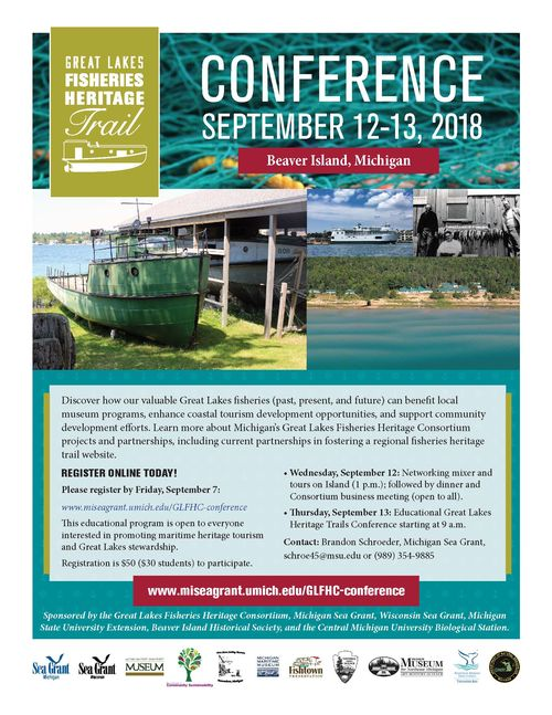 Poster describing Great Lakes Fisheries Heritage Conference to be held on Beaver Island, Sept. 12-13, 2018.