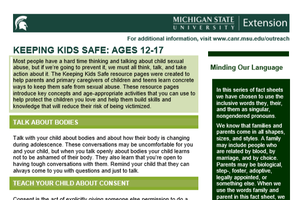 Keeping kids safe, first page of document