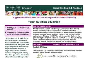 SNAP-Ed Youth Nutrition Education 2017-2018
