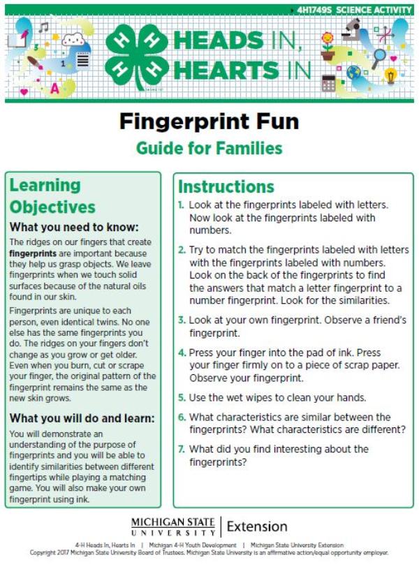 Heads In, Hearts In: Fingerprint Fun - 4-H