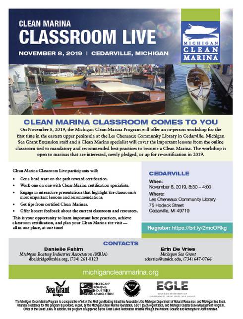 Flyer describes the Michigan Clean Marina Workshop to be held in Cedarville on Nov. 8, 2019. All information on the flyer is available in this article.