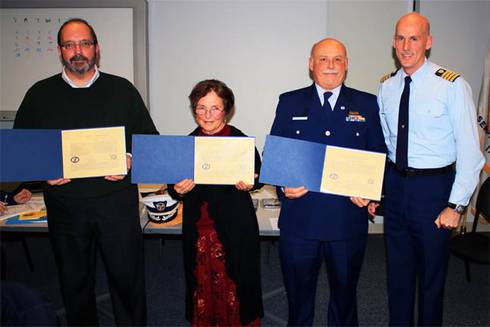 L to R -  Stewart, Nebel, Raymond and Ogden from US Coast Guard award ceremony.