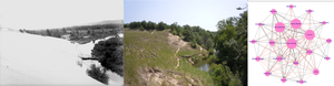 Image collage showing two photos Silver Creek coastal sand dunes, in Silver Lake State Park, taken in the same location over 100 years apart and a composite mental model from the research project.