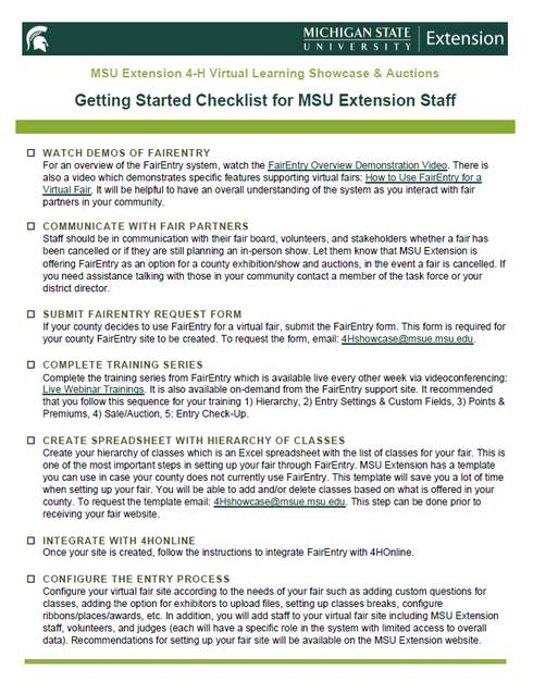 Thumbnail of the Getting Started Checklist for MSU Extension Staff document.