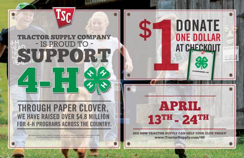 The spring 4-H Paper Clover Campaign runs April 13 - 24 at local Tractor Supply Company stores, including 79 in Michigan. Paper 4-H clovers can be bought for $1 at checkout, with proceeds benefiting local 4-H programs