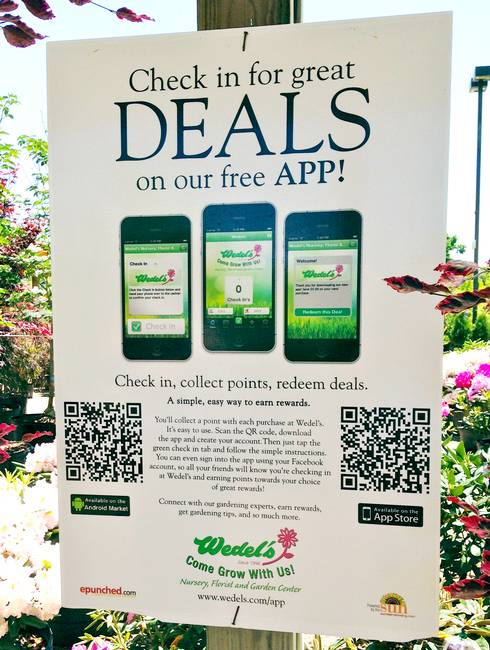 A mobile-ready sign with QR-codes hung in your garden center will enhance sales. Photo credit: Heidi Wollaeger, MSU Extension