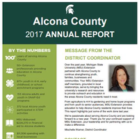 Cover of the Alcona County Annual Report 2017-18.