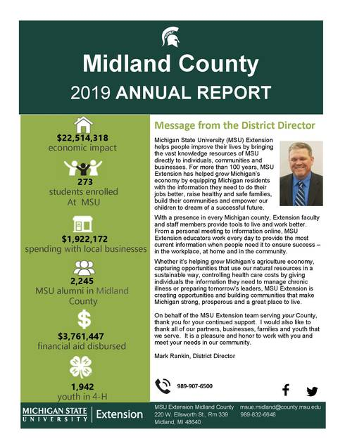 Midland County MSU Extension Annual Report 2019 cover