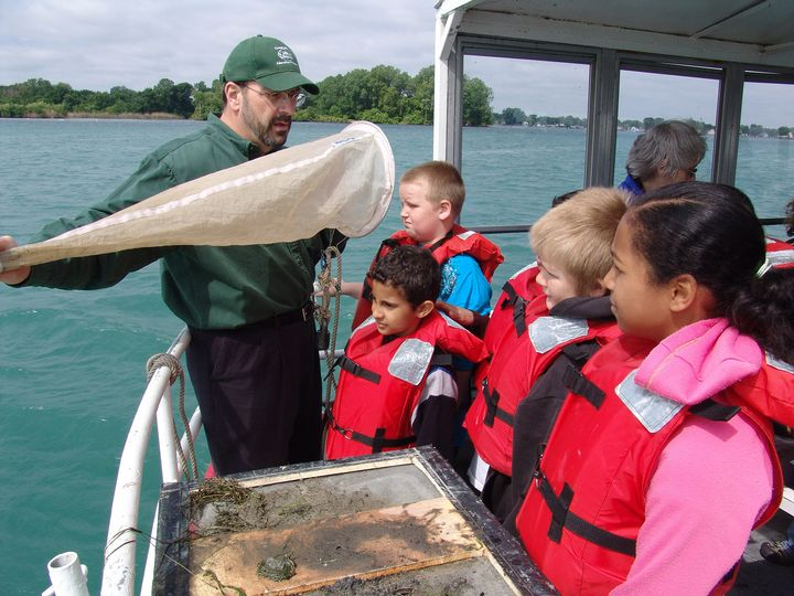Steve Stewart has taught Great Lakes literacy lessons to thousands of schoolchildren over the years. Photo: Michigan Sea Grant