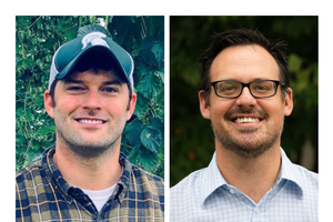 MSU Department of Agricultural, Food, and Resource Economics professors Trey Malone (left) and Aleks Schaefer are hosting an online conversation to discuss the effect the coronavirus global pandemic is having on our food supply chain and the economy.