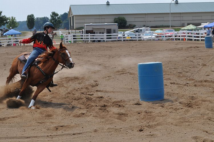 Barrel racing can be fun, rewarding and exciting for 4-H members and their horses! Photo credit: ANR Communications | MSU Extension