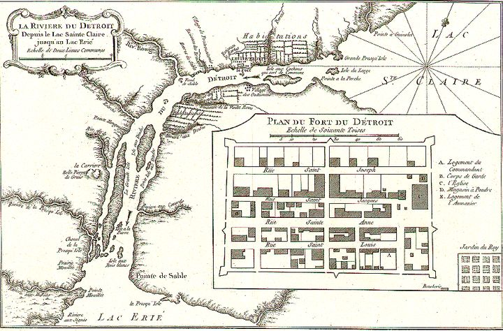 A map of the Detroit River circa 1764. Photo credit: University of Texas Libraries at University of Texas at Austin.