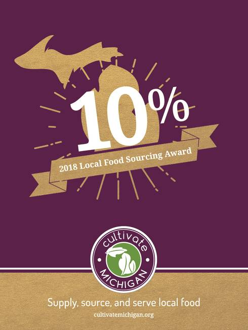 Cultivate Michigan Award poster for achieving 10% local food sourcing.