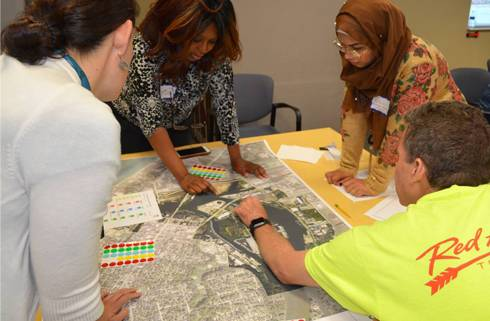 Group works together during the 2018 Benton Harbor/St. Joe Design Charrette.