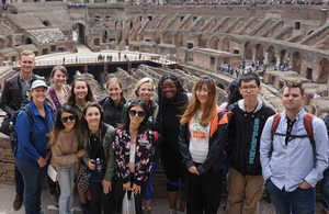 Photo of students at the Coloseum in Italy during the 2017 Landscape Architecture study abroad program.