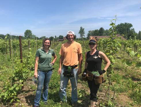 Jackie Grow (left) is the program coordinator for the MSU Institute of Agricultural Technology certificate programs offered at Wayne County Community College District. This is a student visit to Youngblood Vineyards in Ray, Michigan.
