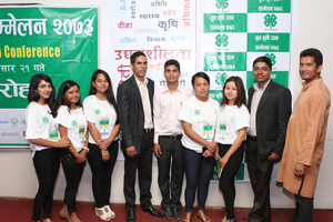 Nepal 4-Hers pause for a group photo at a conference. All images courtesy of Lok Raj Awasthi.