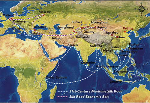 Map of the new Silk Road and Maritime Silk Road