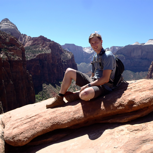 Intern Kenny on guiding trip for Red Rock Resort, UT