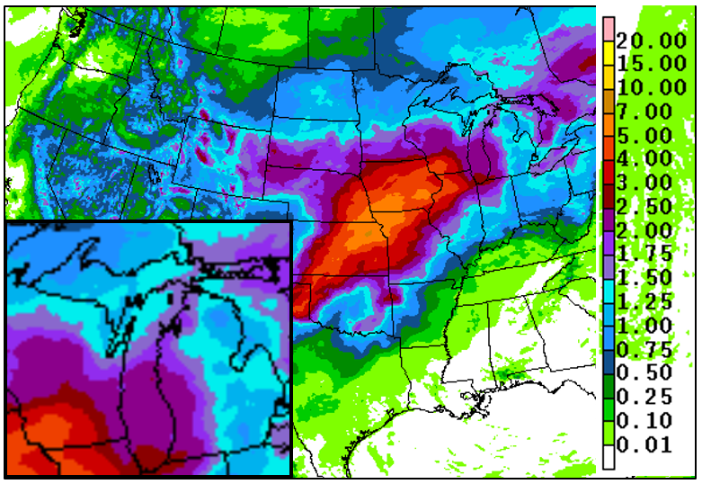 Forecast precip totals map