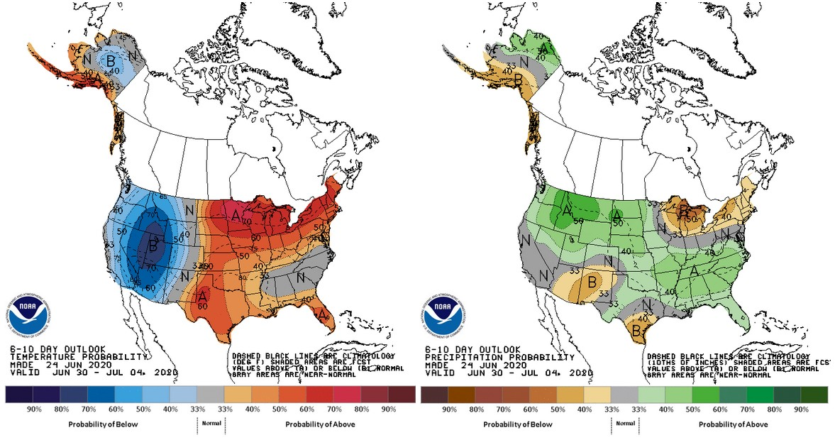 The 6-10 day outlook for temperature (left) and precipitation (right)