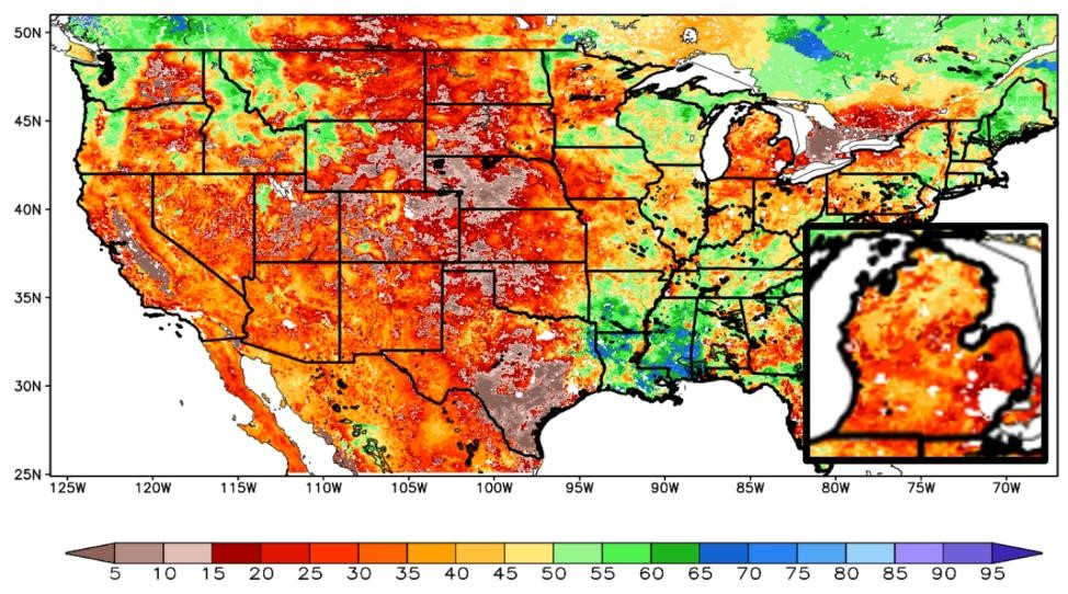 Relative soil moisture map