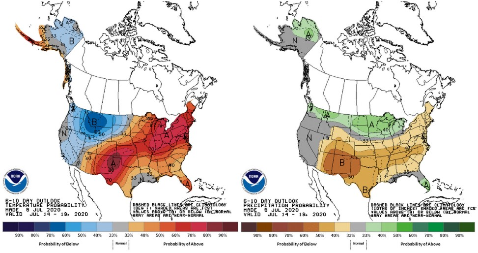 The 6-10 day outlook for temperature and precipitation