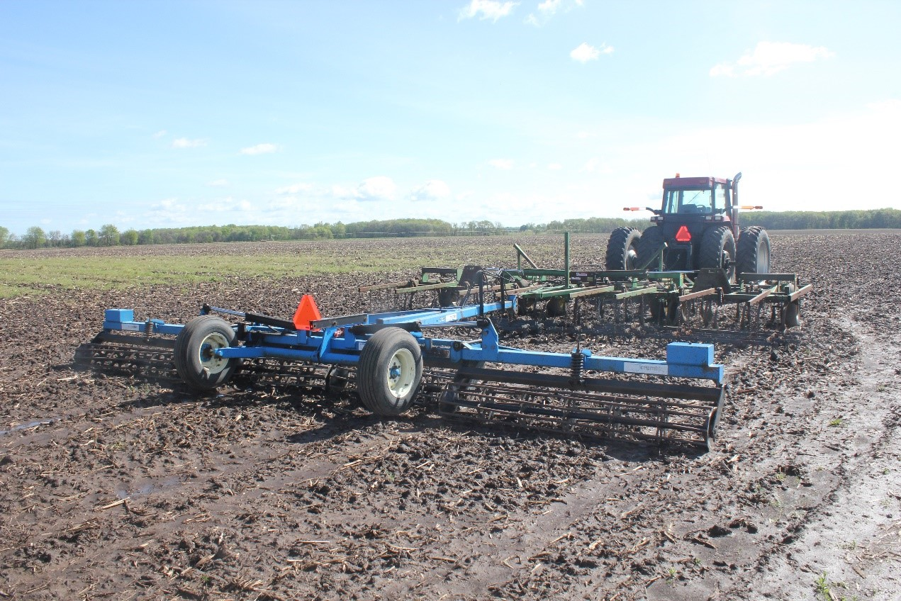Equipment parked in wet field