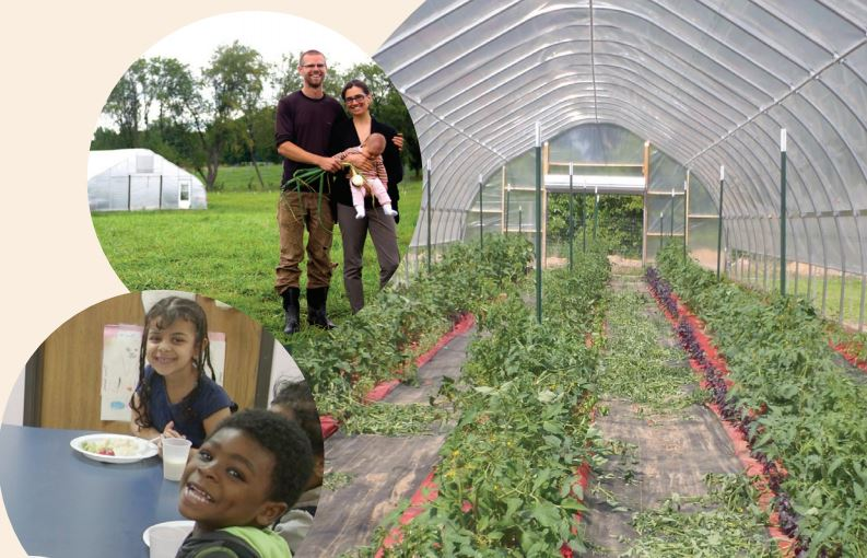 Image collage of hoophouse, farmer family, and children enjoying fresh food.