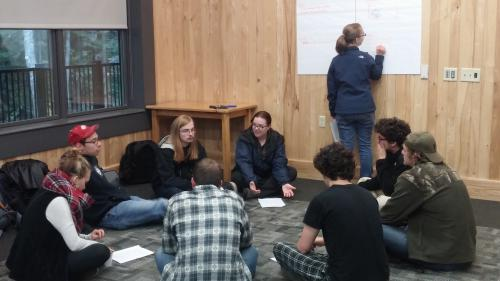 Students working in a group during the undergraduate retreat