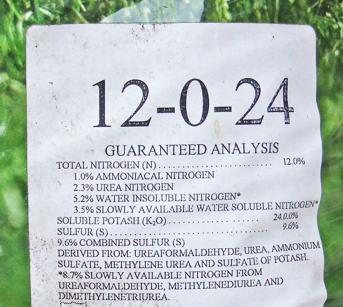 The guaranteed nutrient analysis label found on a bag of fertilizer