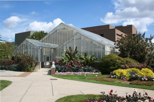 The horticulture teaching greenhouses as seen from the horticulture demonstration gardens