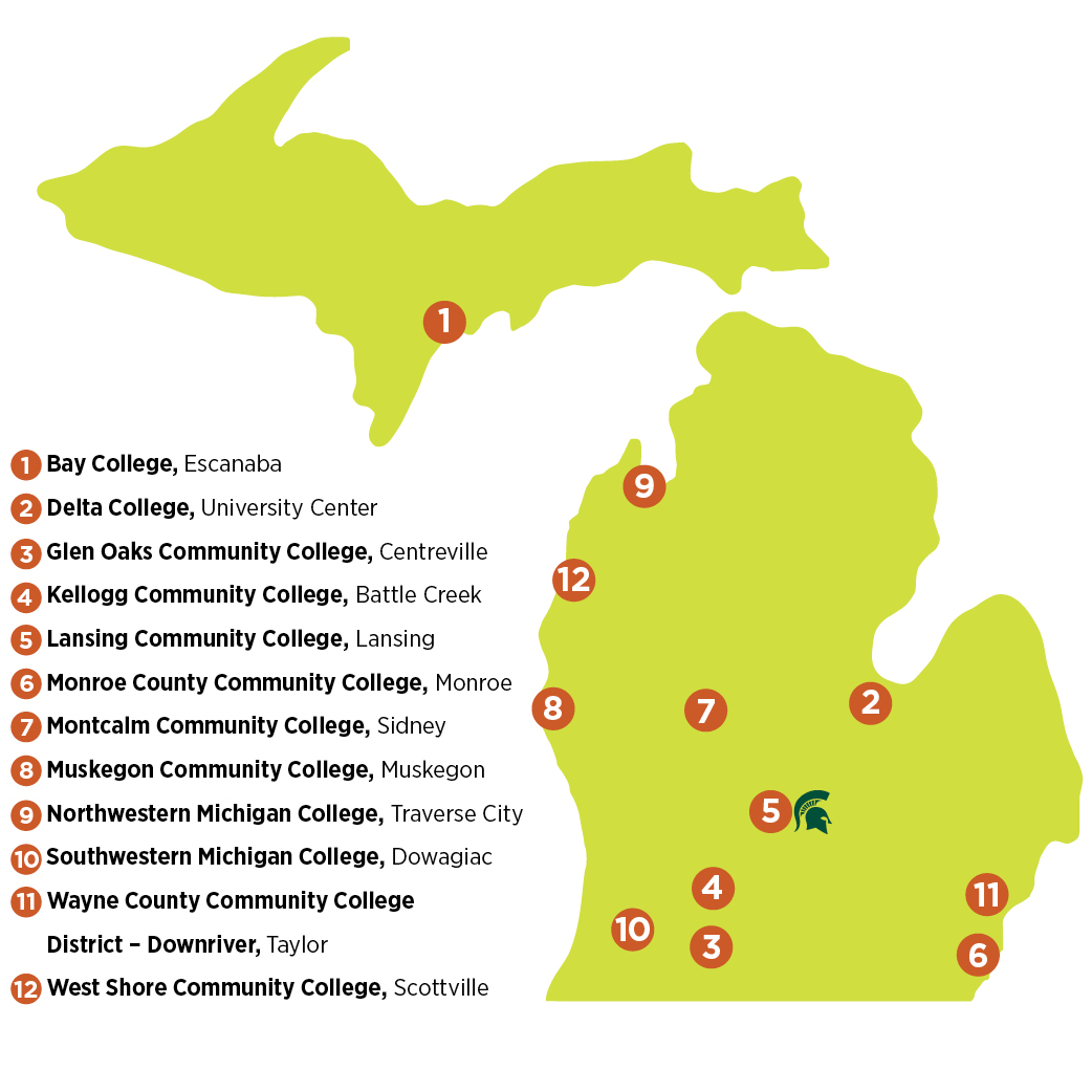 MSU IAT map showing locations in East Lansing, Escanaba, University Center, Centreville, Battle Creek, Monroe, Sidney, Muskegon, Traverse City, Dowagiac, Taylor and Scottville.