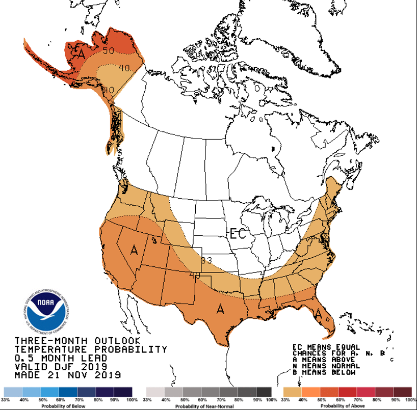 Three-month (December 2019 – February 2020) temperature outlook from the National Weather Service Climate Prediction Center