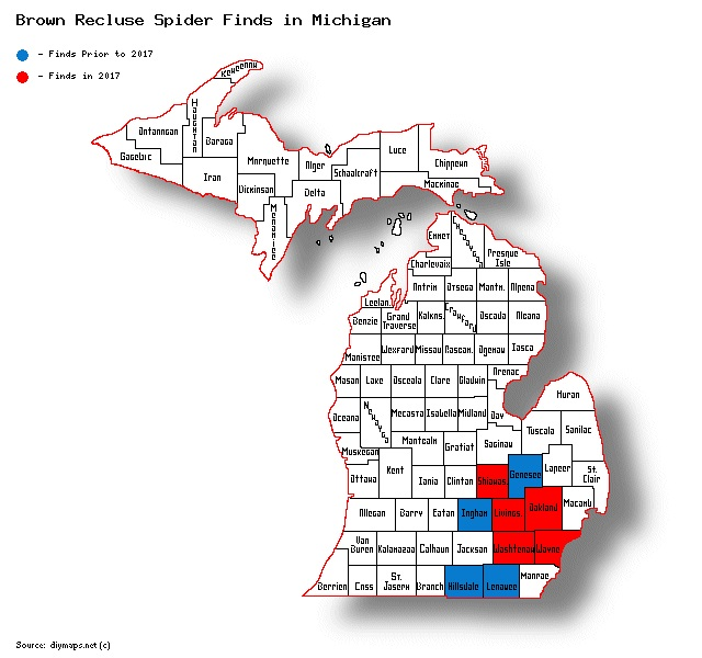 map of brown recluse finds in Michigan