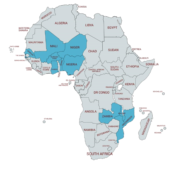 map of africa with eleven countires higlighted
