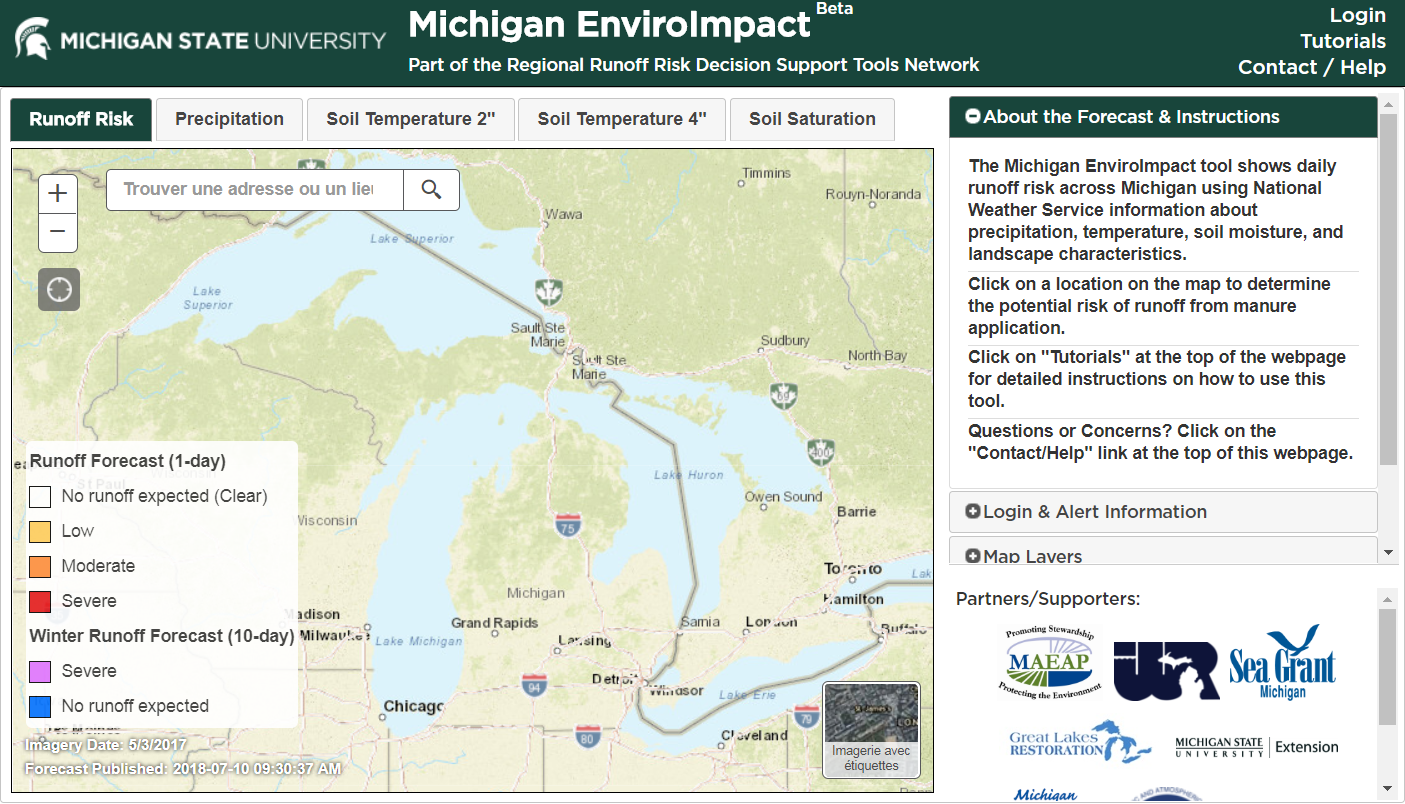MI EnviroImpact Tool Website Screen Shot
